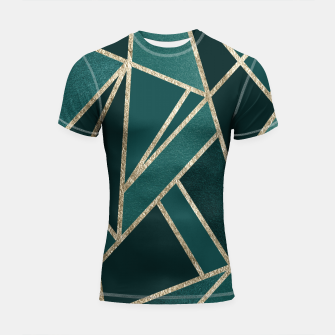 Classic Teal Champagne Gold Geo #1 #geometric #decor #art  Shortsleeve rashguard miniature