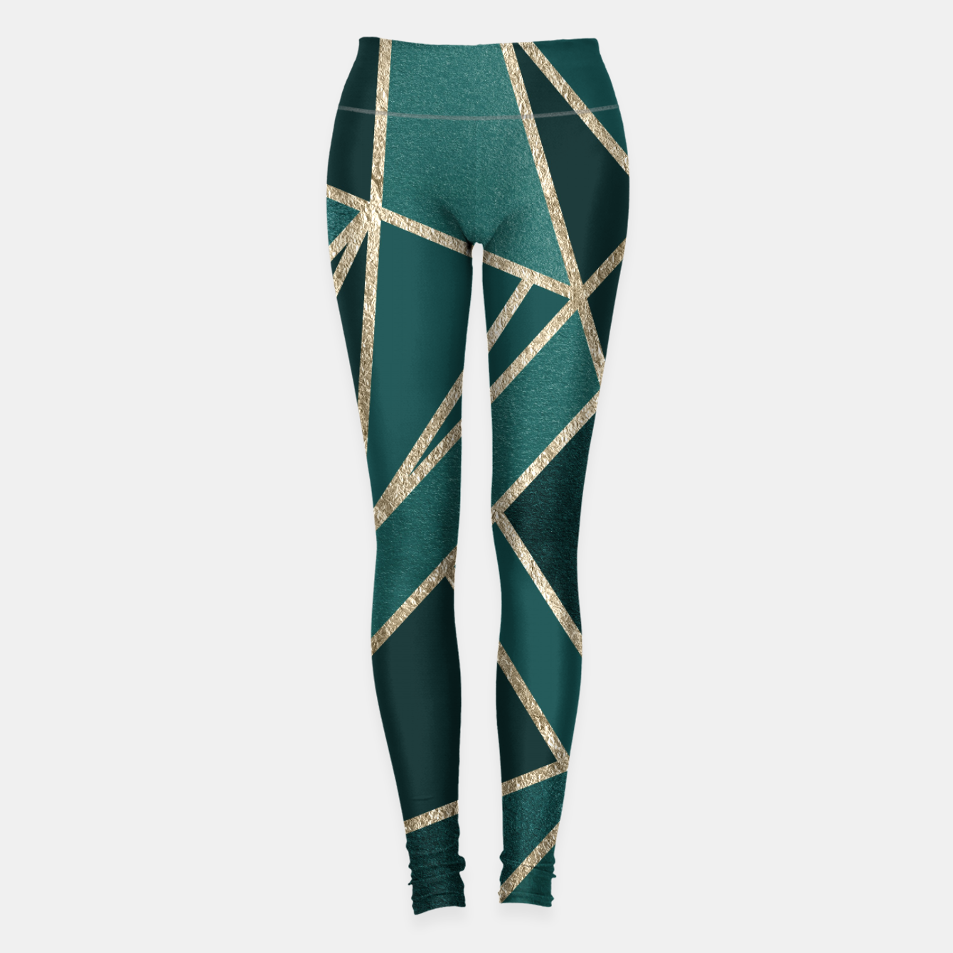 Image of Classic Teal Champagne Gold Geo #1 #geometric #decor #art  Leggings - Live Heroes