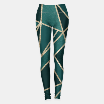 Classic Teal Champagne Gold Geo #1 #geometric #decor #art  Leggings obraz miniatury