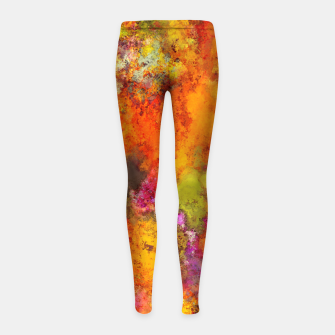 Thumbnail image of Orange pop Girl's leggings, Live Heroes