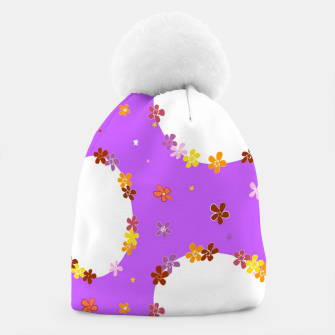 Thumbnail image of Vintage white flowers chain on purple Gorro, Live Heroes