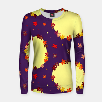 Thumbnail image of Vintage yellow flowers chain on purple Sudadera para mujeres, Live Heroes