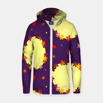 Thumbnail image of Vintage yellow flowers chain on purple Sudadera con capucha y cremallera , Live Heroes