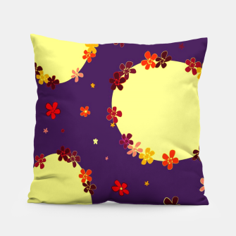 Thumbnail image of Vintage yellow flowers chain on purple Almohada, Live Heroes