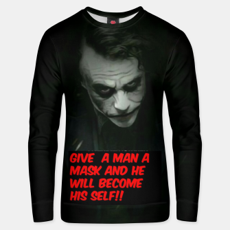 Thumbnail image of Joker Mask Unisex sweater, Live Heroes