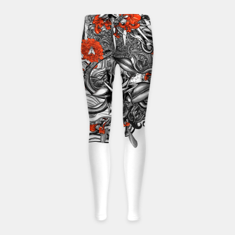 Miniatur Flower Power White Girl's leggings, Live Heroes
