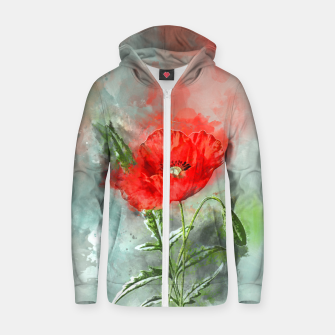 Thumbnail image of Red Poppy Zip up hoodie, Live Heroes