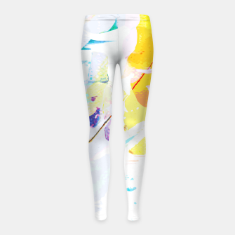Miniatur Yellow Modern Abstract Girl's leggings, Live Heroes