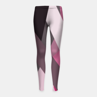 Thumbnail image of pink brown black white abstact geometric art Girl's leggings, Live Heroes