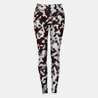 Miniatur Red Pattern Camouflage & Mosaic Style Leggings, Live Heroes