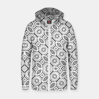 Thumbnail image of Black and White Baroque Ornate Print Pattern Zip up hoodie, Live Heroes
