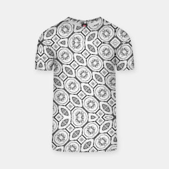 Thumbnail image of Black and White Baroque Ornate Print Pattern T-shirt, Live Heroes