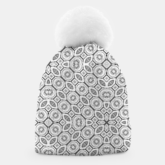 Thumbnail image of Black and White Baroque Ornate Print Pattern Beanie, Live Heroes