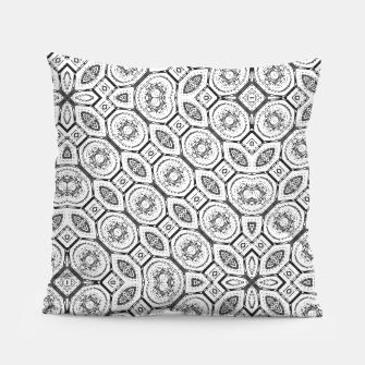 Thumbnail image of Black and White Baroque Ornate Print Pattern Pillow, Live Heroes