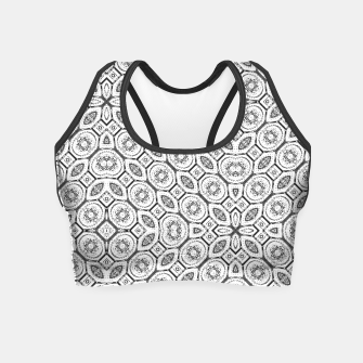 Thumbnail image of Black and White Baroque Ornate Print Pattern Crop Top, Live Heroes