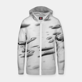Thumbnail image of After the rain, rain drops leaking on a smooth surface, black and white photography Zip up hoodie, Live Heroes