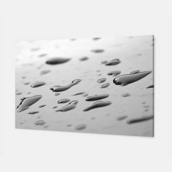 Thumbnail image of After the rain, rain drops leaking on a smooth surface, black and white photography Canvas, Live Heroes