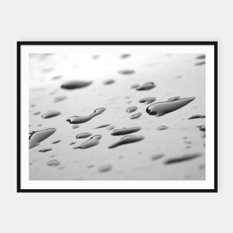 Thumbnail image of After the rain, rain drops leaking on a smooth surface, black and white photography Framed poster, Live Heroes