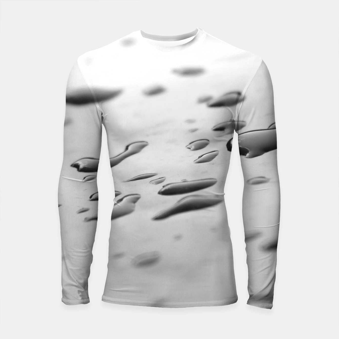 Foto After the rain, rain drops leaking on a smooth surface, black and white photography Longsleeve rashguard  - Live Heroes