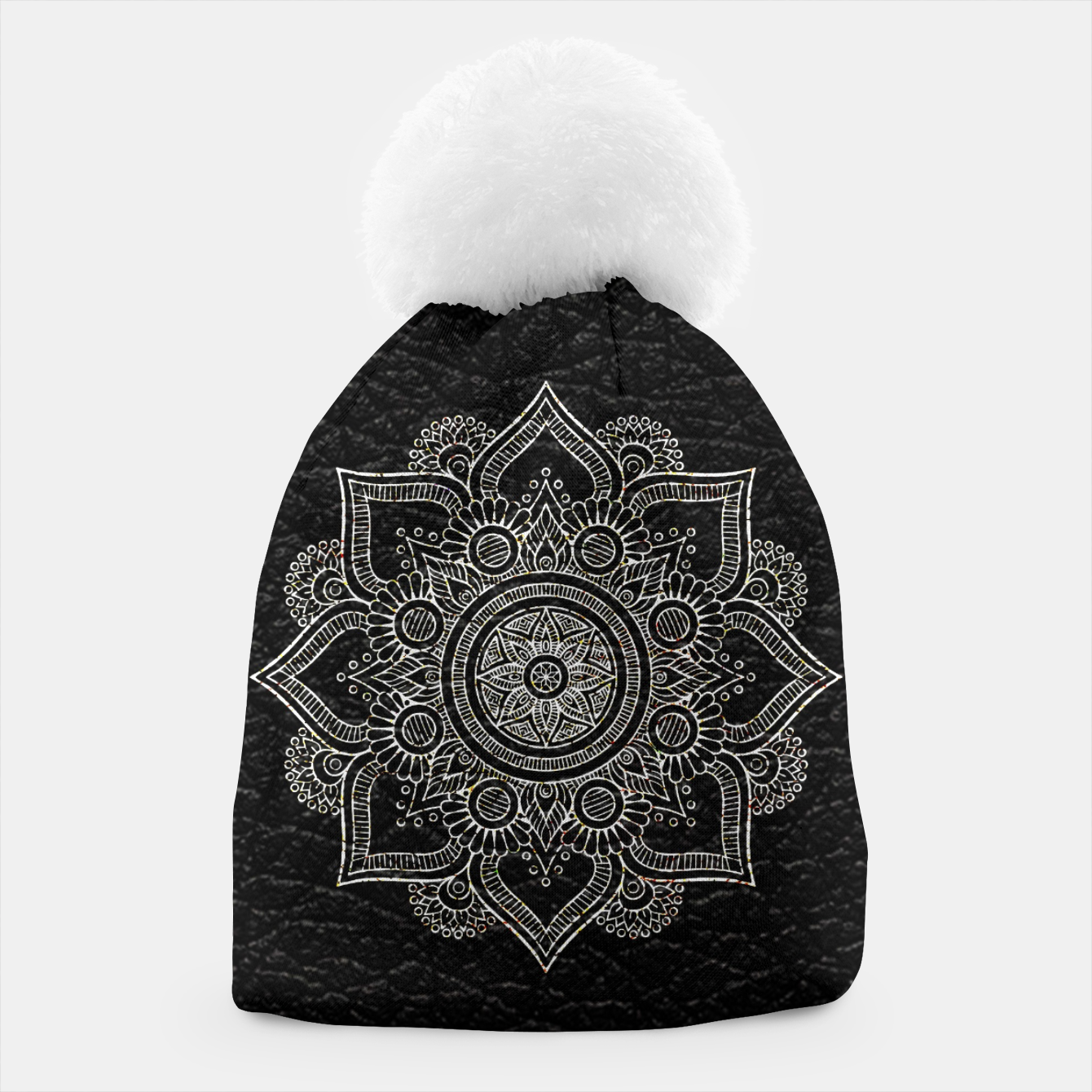 Image of Black and White Traditional Bohemian Moroccan Artwork. Beanie - Live Heroes