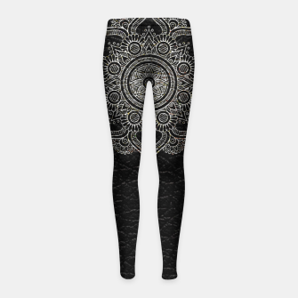 Thumbnail image of Black and White Traditional Bohemian Moroccan Artwork. Girl's leggings, Live Heroes