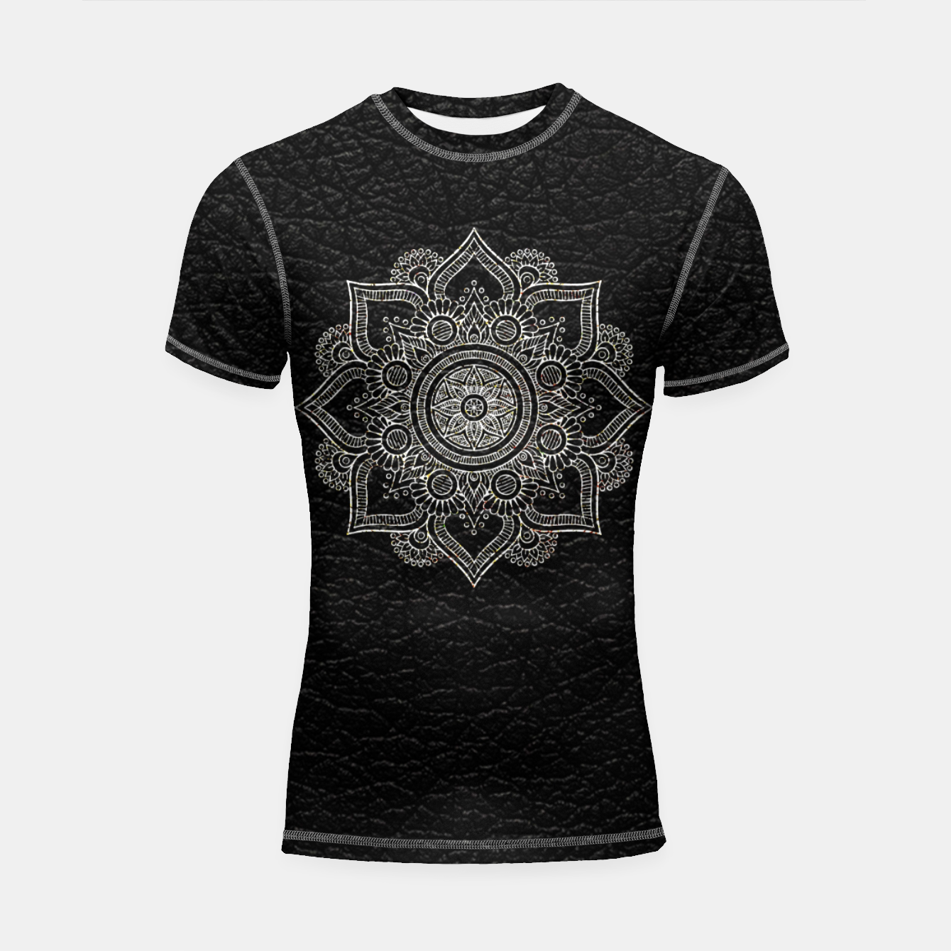 Image of Black and White Traditional Bohemian Moroccan Artwork. Shortsleeve rashguard - Live Heroes
