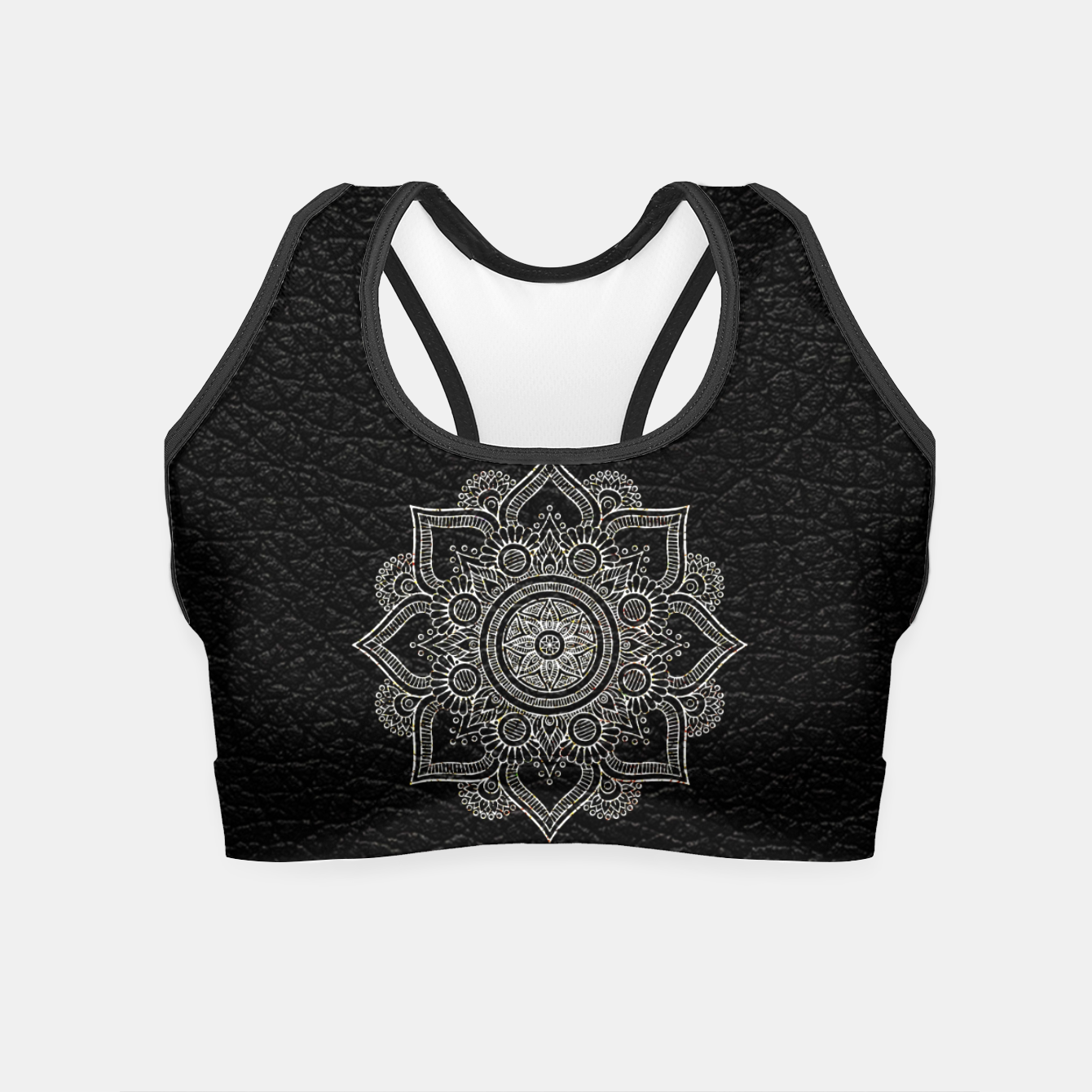 Image of Black and White Traditional Bohemian Moroccan Artwork. Crop Top - Live Heroes