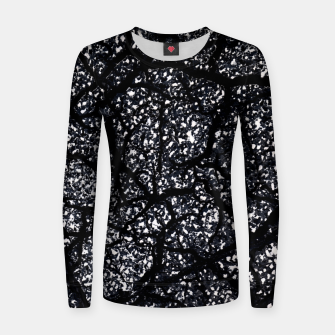 Black and White Dark Abstract Texture Print Women sweater obraz miniatury