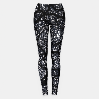 Black and White Dark Abstract Texture Print Leggings obraz miniatury