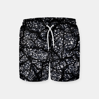 Black and White Dark Abstract Texture Print Swim Shorts obraz miniatury