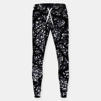 Miniatur Black and White Dark Abstract Texture Print Sweatpants, Live Heroes