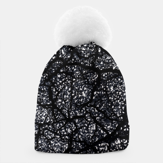 Black and White Dark Abstract Texture Print Beanie obraz miniatury