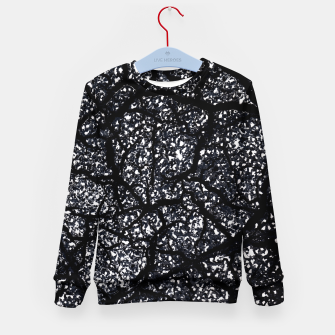 Black and White Dark Abstract Texture Print Kid's sweater obraz miniatury