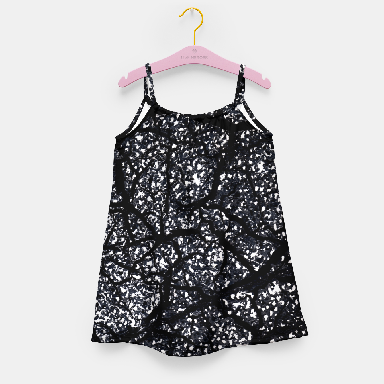 Zdjęcie Black and White Dark Abstract Texture Print Girl's dress - Live Heroes