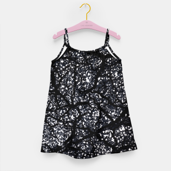 Miniatur Black and White Dark Abstract Texture Print Girl's dress, Live Heroes