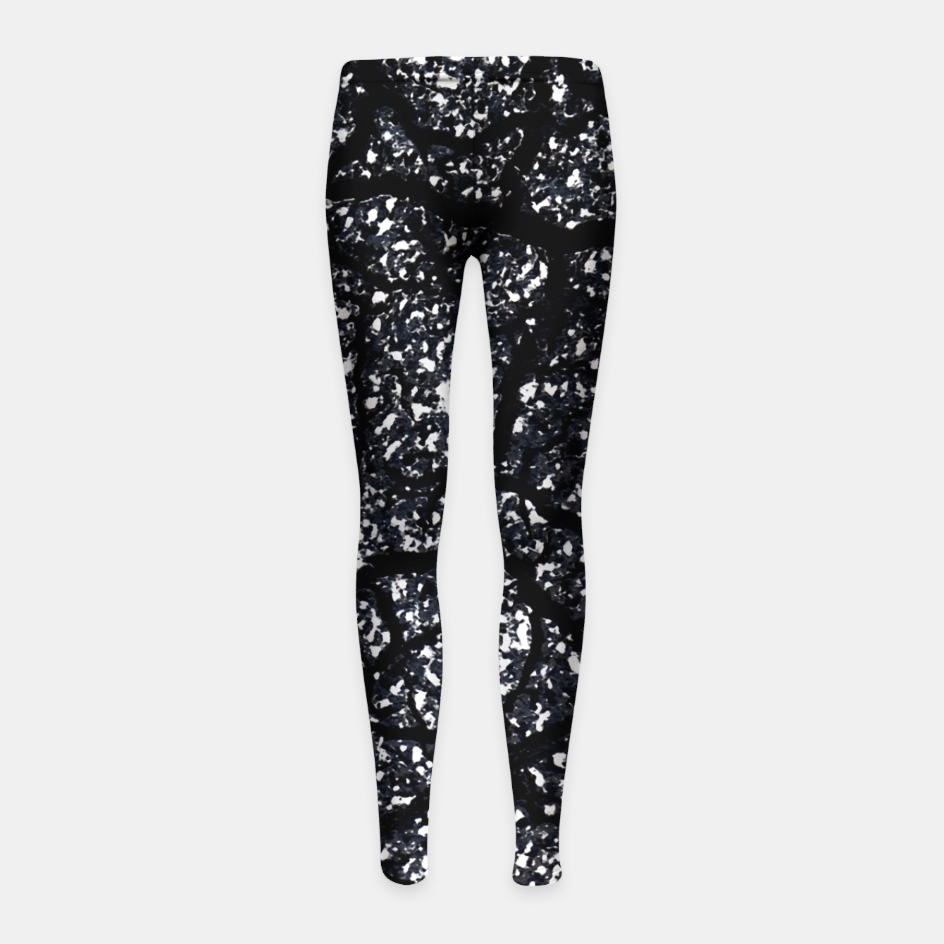 Zdjęcie Black and White Dark Abstract Texture Print Girl's leggings - Live Heroes