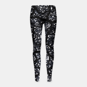 Black and White Dark Abstract Texture Print Girl's leggings obraz miniatury