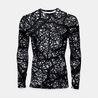 Miniatur Black and White Dark Abstract Texture Print Longsleeve rashguard , Live Heroes