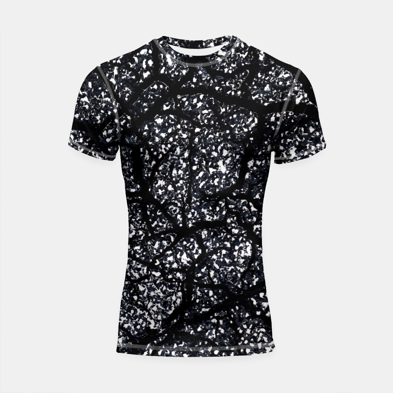 Zdjęcie Black and White Dark Abstract Texture Print Shortsleeve rashguard - Live Heroes