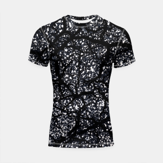 Miniatur Black and White Dark Abstract Texture Print Shortsleeve rashguard, Live Heroes