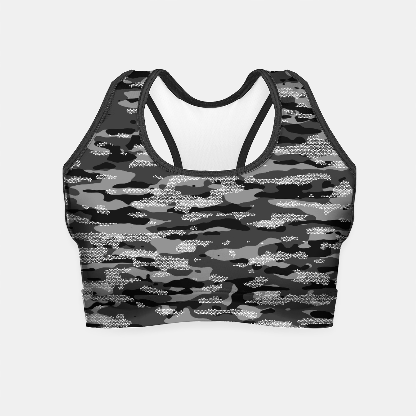 Image of Snow Camouflage Pattern Mosaic Style Crop Top - Live Heroes