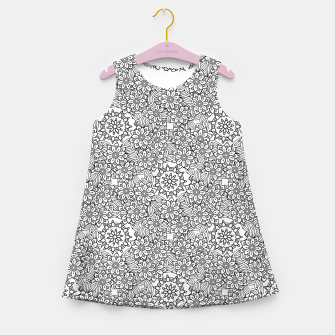Floral - BW - Mandala Pattern - 02 Girl's summer dress miniature
