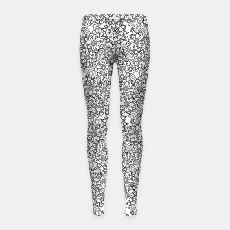 Floral - BW - Mandala Pattern - 02 Girl's leggings miniature