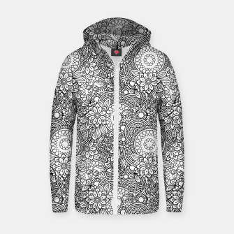 Floral - BW - Mandala Pattern - 03 Zip up hoodie miniature