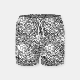 Floral - BW - Mandala Pattern - 03 Swim Shorts miniature