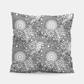 Floral - BW - Mandala Pattern - 03 Pillow miniature