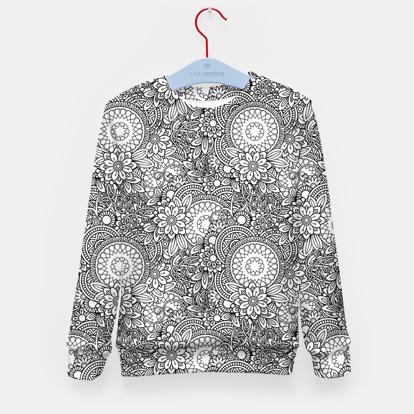 Image de Floral - BW - Mandala Pattern - 03 Kid's sweater - Live Heroes
