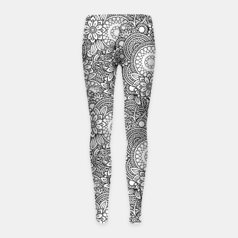 Floral - BW - Mandala Pattern - 03 Girl's leggings miniature