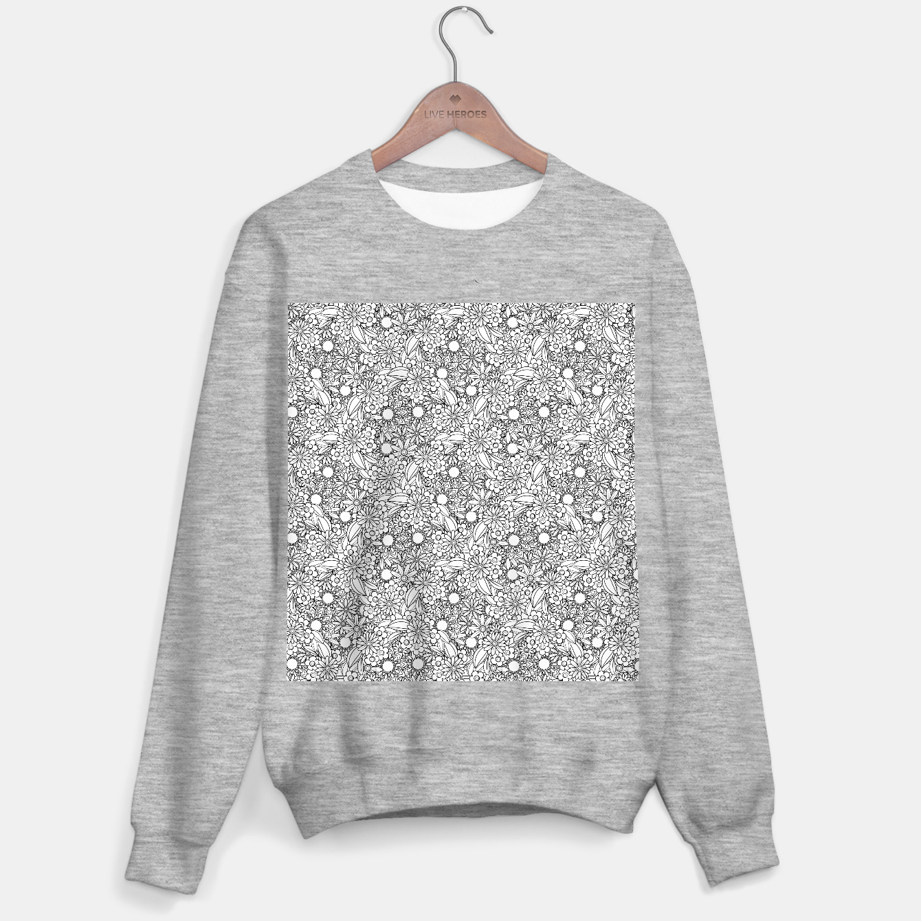 Image of Floral - BW - Mandala Pattern - 04 Sweater regular - Live Heroes