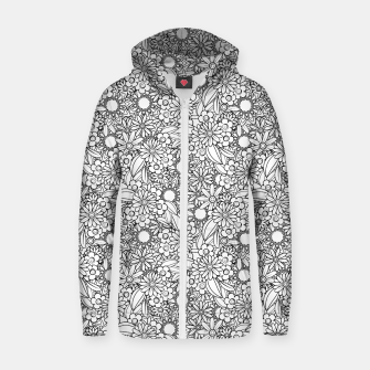 Floral - BW - Mandala Pattern - 04 Zip up hoodie miniature